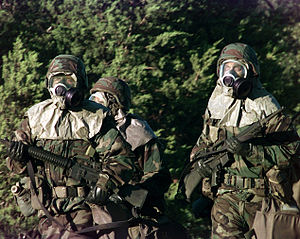 Soldiers with gas masks